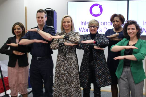 (Left to right) Perminder Mann, CEO, Bonnier Books UK, Paul Lincoln OBE, Director General, Border Force, and Home Office Gender Equality Champion, Suki Thompson, CEO and Founder, Let's Reset, Brenda Trenowden CBE, Co-chair of 30% Club, Pamela Hutchinson, Global Head of Diversity and Inclusion, Bloomberg LP, and Maggie Murphy, General Manager, Lewes FC, at the Home Office IWD event