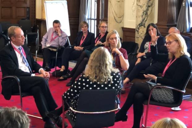 Matthew Rycroft, Kate Josephs, Frankie Kay and Debbie Hollings-Tennant in discussion at the Directors' Network event on leading across boundaries in October 2019