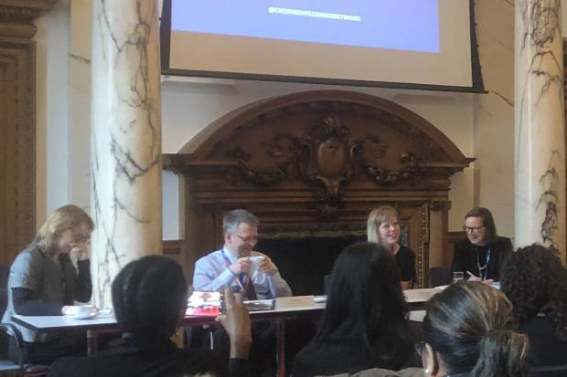Claire Campbell, Programme Director Timewise, Stuart Miller, Department for Education, Camilla Bellamy, PHE Deputy Director & Chair of CGFWN, and Jane Van Zyl, CEO, Working Families, seated around a table at the CGFWN Event, London 2019