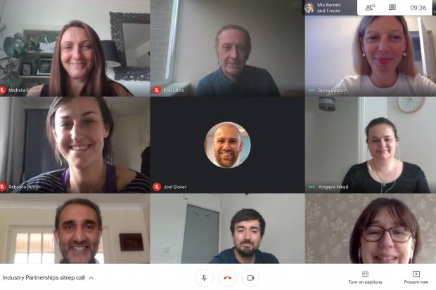 Screenshot of members of the Industry Partnering Volunteer Scheme team taking part in a video hangout meeting.