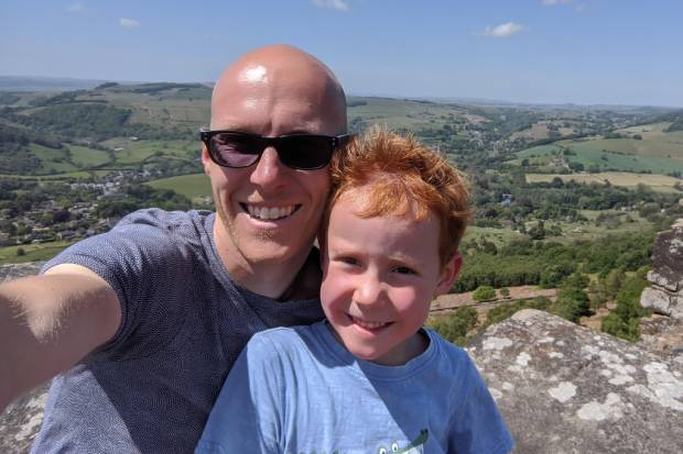 Paul Trenell and his son Joseph pictured in the Derbyshire Peak District