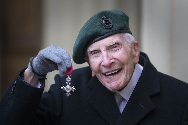 D-Day veteran Harry Billinge in March 2020 with his MBE for charitable fundraising, after he raised thousands for a national memorial to honour service personnel killed in Normandy. © Victoria Jones/PA Wire