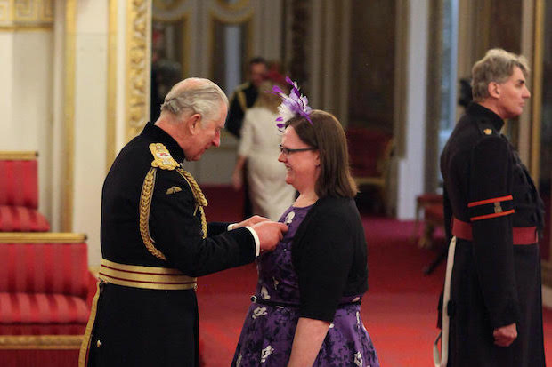 Keela Shackell-Smith is made an MBE by the Prince of Wales at Buckingham Palace. ©Yui Mok/PA Wire
