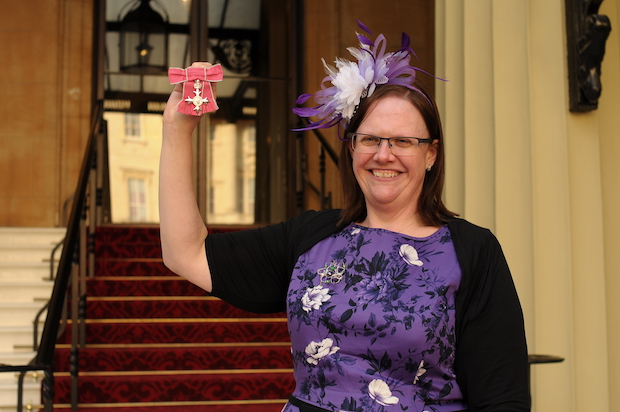 Keela Shackell-Smith following her investiture at Buckingham Palace