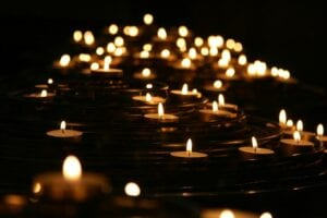 Image of candles floating