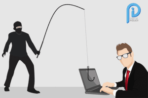 Image of a fraudster holding a fishing rod over an unsuspecting man on his computer