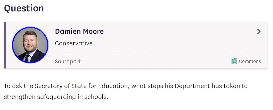 Written Parliamentary Question from Damien Moore