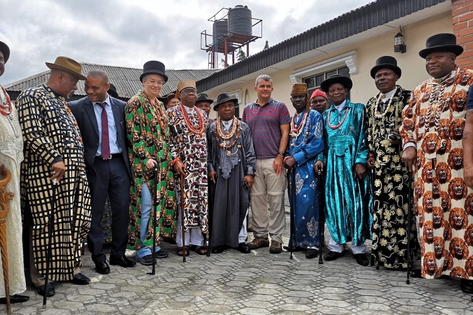 Gill Atkinson with Elders of the Eleme People in Ogoniland