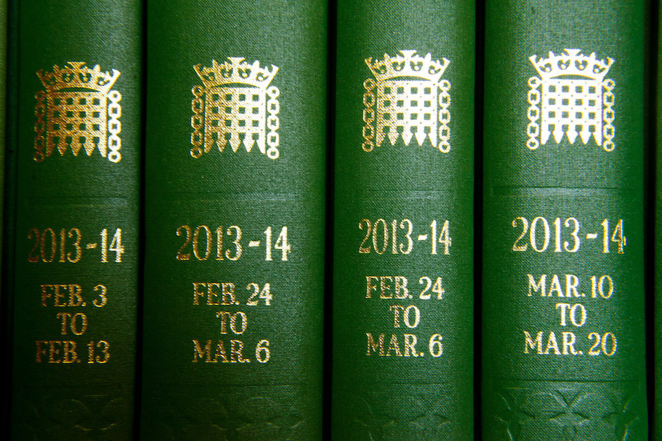Copies of the Commons Hansard, where the content of parliamentary debates are recorded. Copyright: © UK Parliament